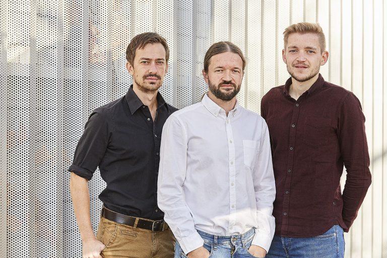 Die DENKweit-Gründer: Dr. Dominik Lausch (v.l.), Dr. Kai Kaufmann und Markus Patzold. Foto: Technologie- und Gründerzentrum Halle
